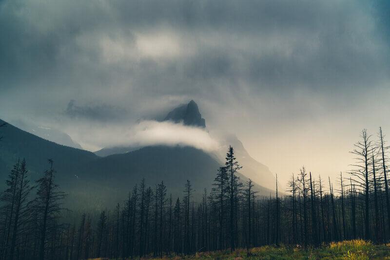 cloud covered mountain peak in montana