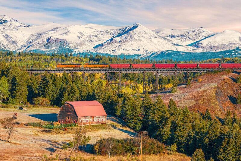 East Glacier Park Village's rural landscape, across Two Medicine River