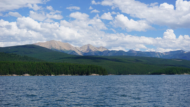 Hungry Horse reservoir with a backdrop of stunning mountains