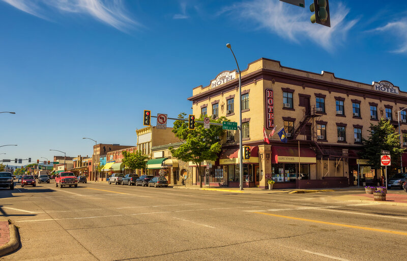 Scenic street view of Kalispell with shops and hotels