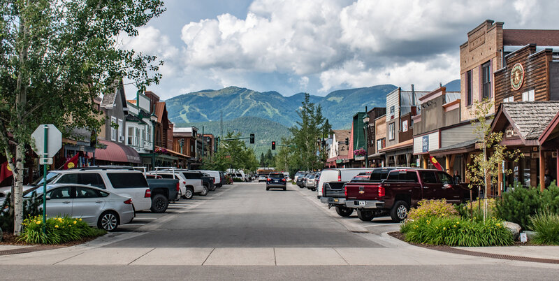 Mainstreet in Whitefish, a small town in Montana. The small town draws in tourists in summer and winter
