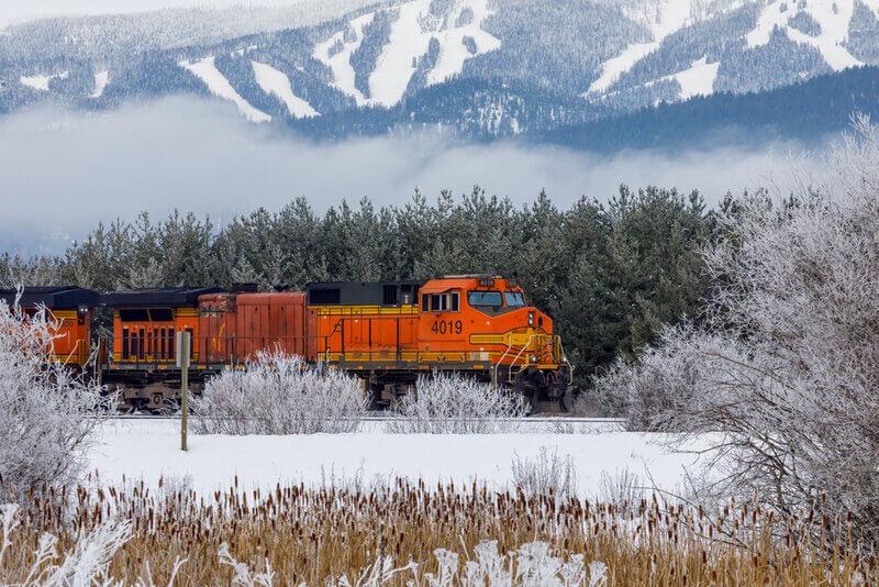 pulling train near whitefish in montana